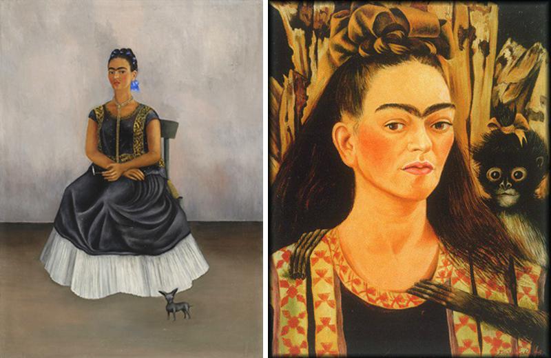 frida-kahlo-autoportrait-chien-itzcuintli-autoportrait-petit-singe-1945