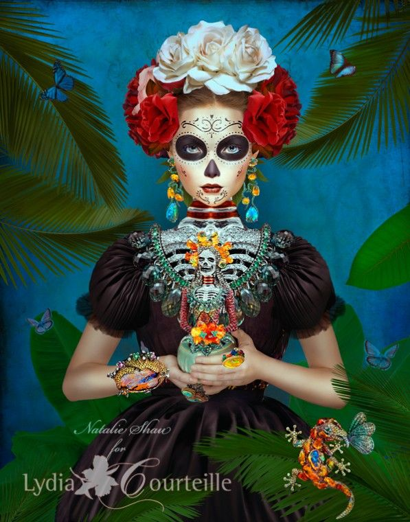 Dia del los Muertos makeup skull  Natalie Shau for Lydia Courteille 2013