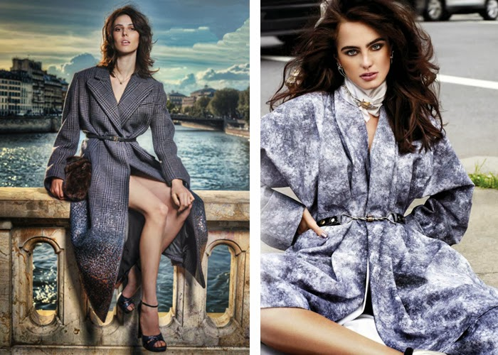 Grey coat glittery or mottled effect
