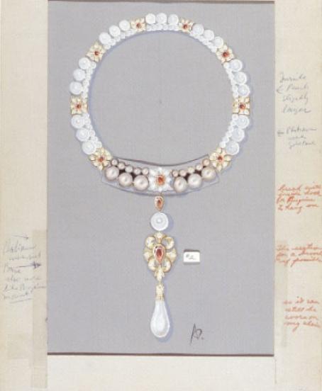 la-peregrina-pearl-perle-cartier-dessin-collier-necklace-elizabeth-taylor