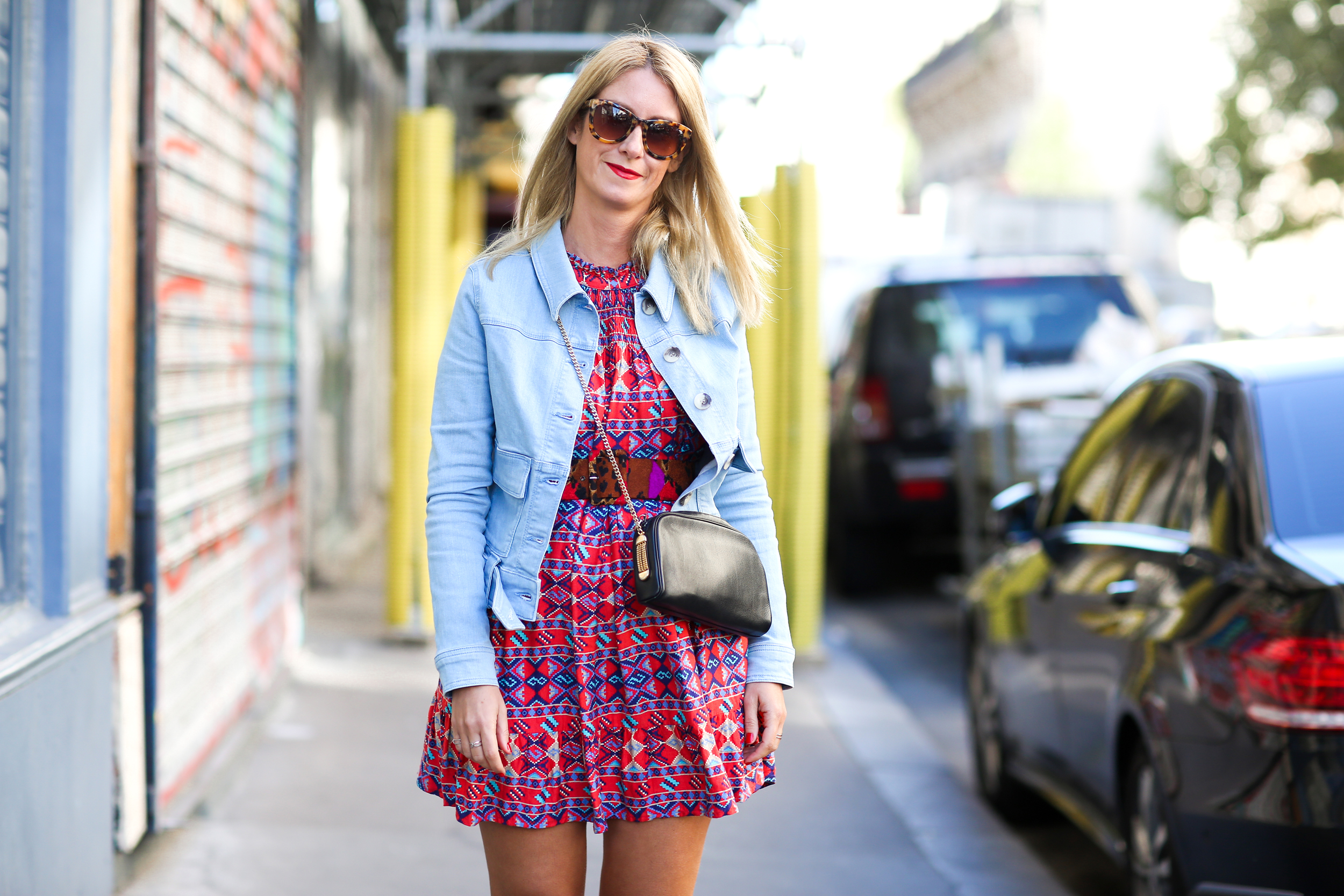 Vintage-dress-and-Jeans-jacket