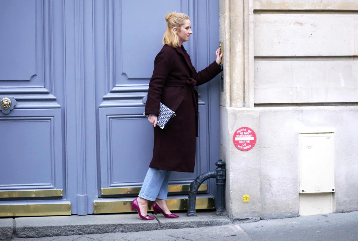 Manteau bordeaux Marks & Spencer et jean blue Levi's vintage