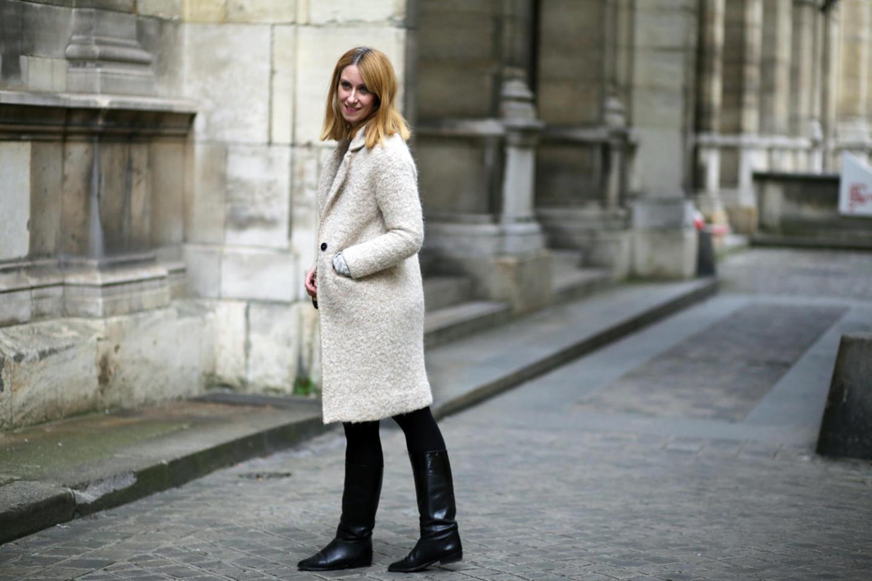 Manteau femme beige en bouclette