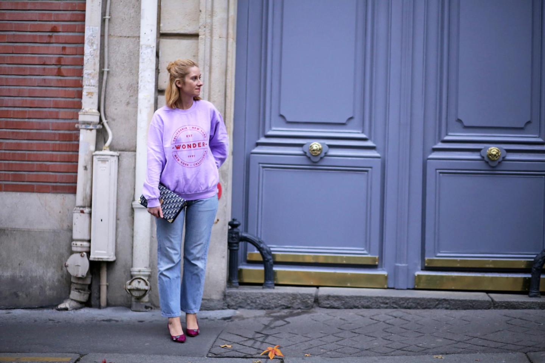 Sweat violet et jean blue vintage