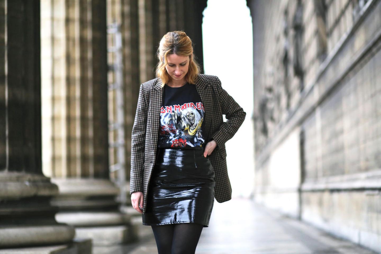 Iron Maiden t-shirt-blazer prince de galles et jupe en vinyl