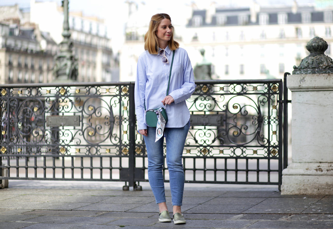 Green and light blue outfit - spring look