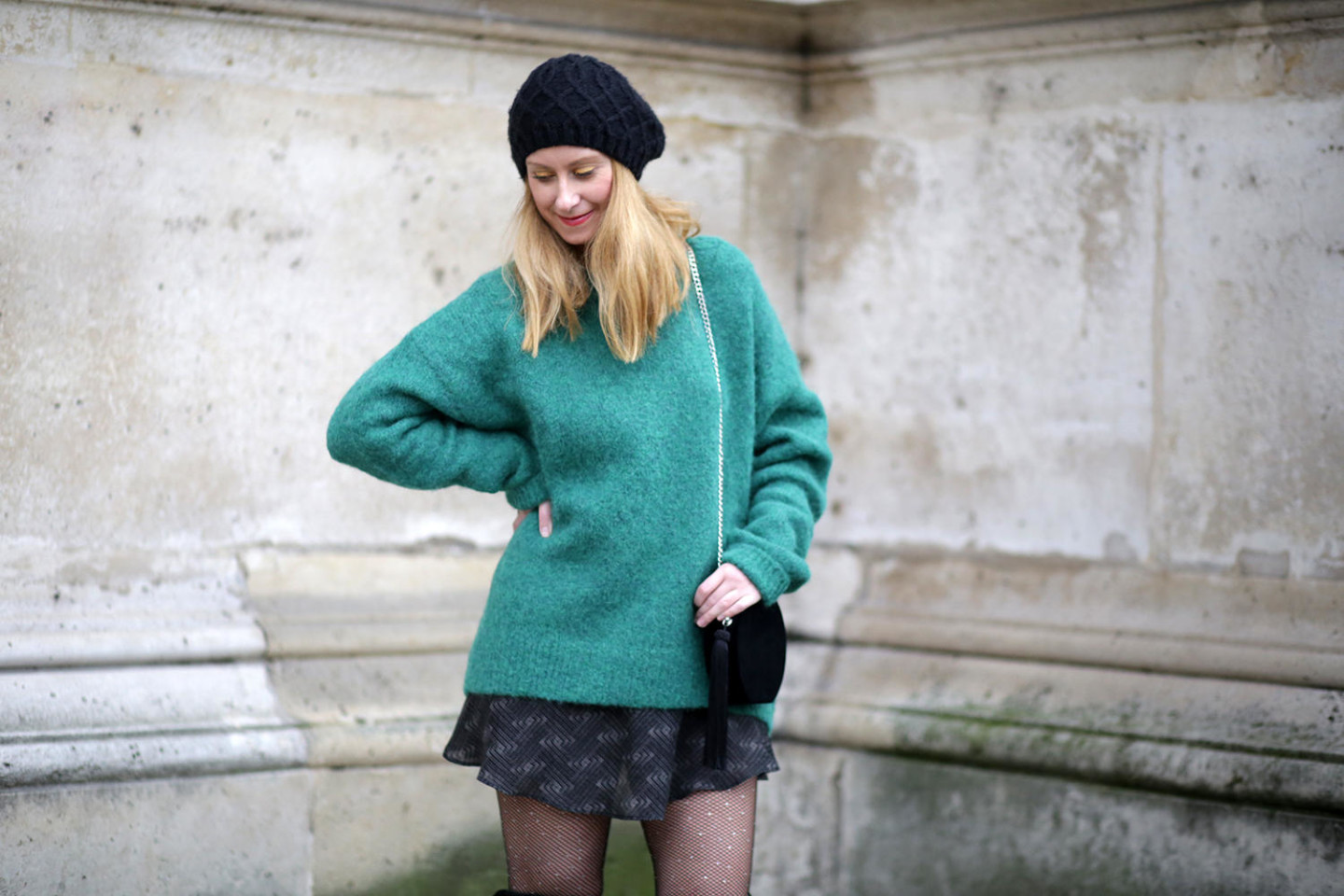 green jumper oversize H&M