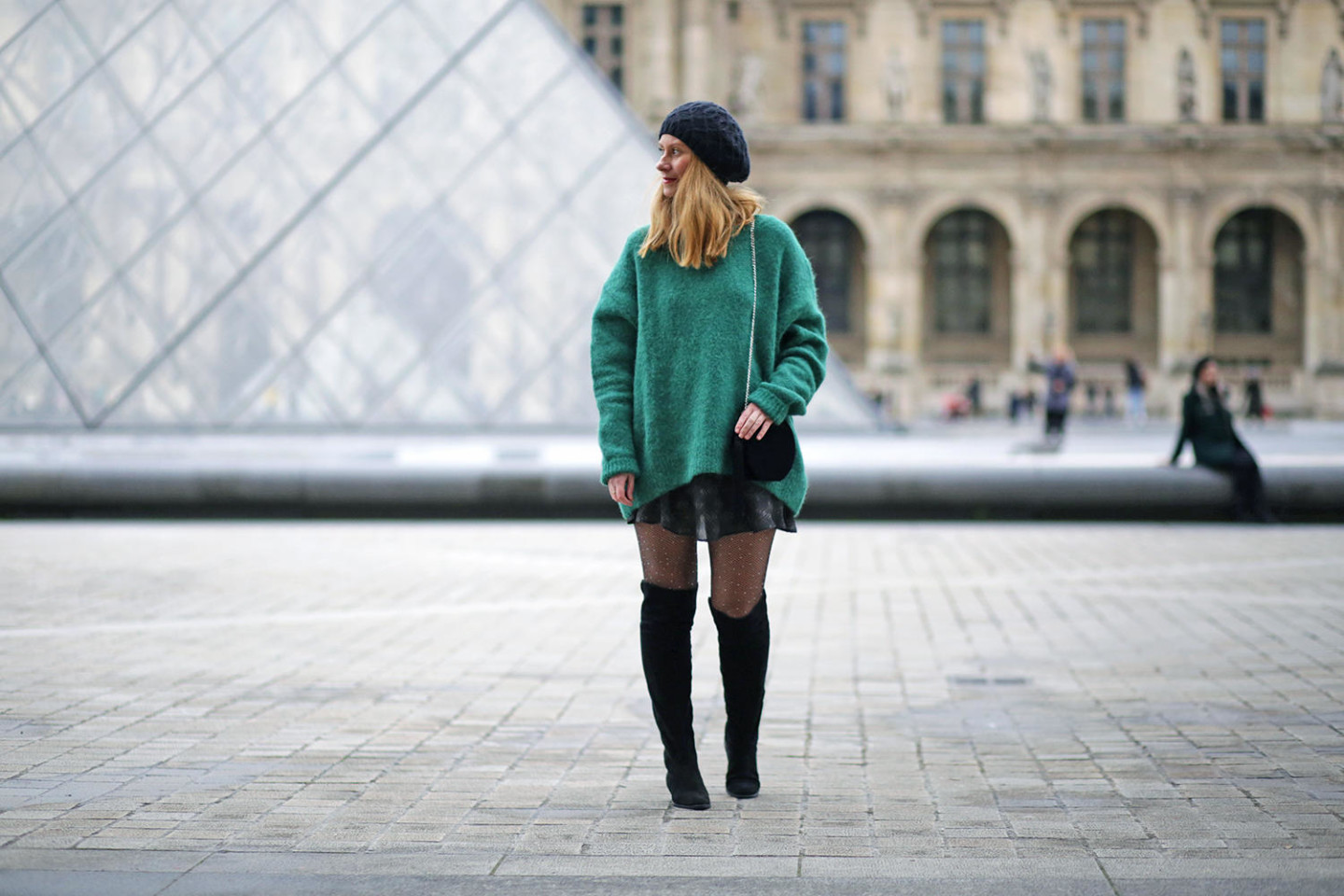 green oversize sweater HM-Vanessa Bruno skirt