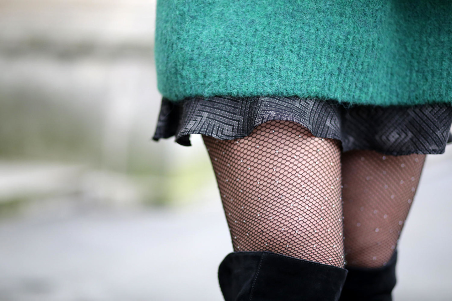 oversize green jumper-Vanessa Bruno skirt-fishnett strass tight