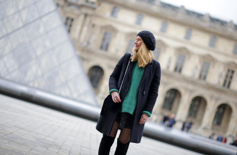 pull vert HM-jupe Vanessa Bruno