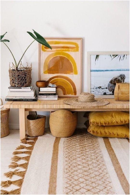 Pinterest Inspiration-Ethnic chic home decoration straw and wood