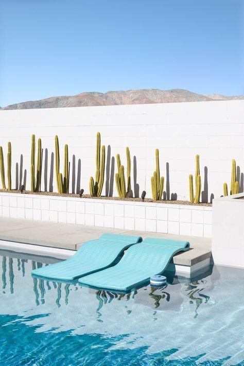 Palm Spring swimming pool with cactus