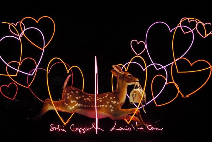 sofia-coppola-louis-vuitton-le-bon-marche-window-deer-neon-heart