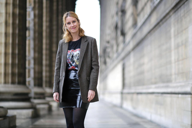 t-shirt Iron Maiden-blazer prince de galles-jupe en vinyl