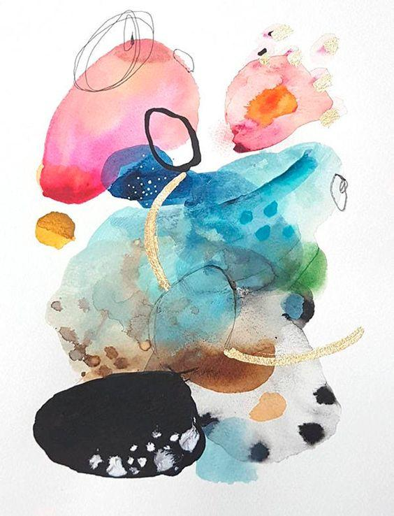 Modern print watercolor abstract painting by VictoriAtelier