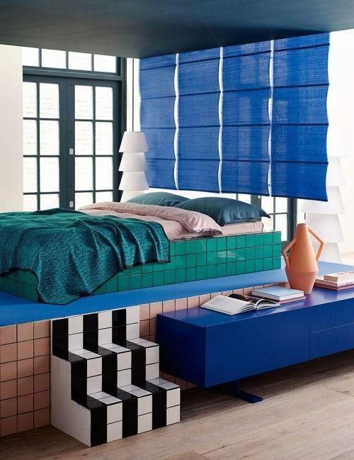 blue green bedroom with tiles
