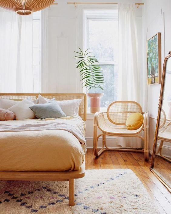Pinterest Inspiration-Minimal ethnic chic home decoration with straw and wood